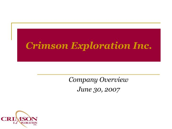 crimson exploration inc