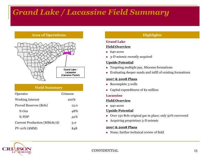 Grand Lake / Lacassine Field Summary