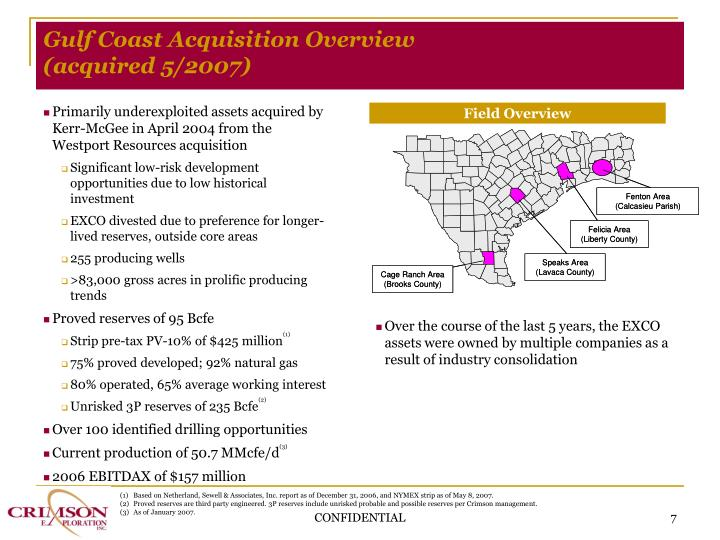 Gulf Coast Acquisition Overview