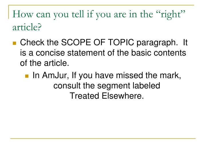 """How can you tell if you are in the """"right"""" article?"""