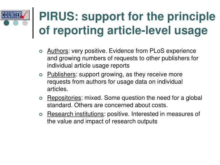 PIRUS: support for the principle of reporting article-level usage