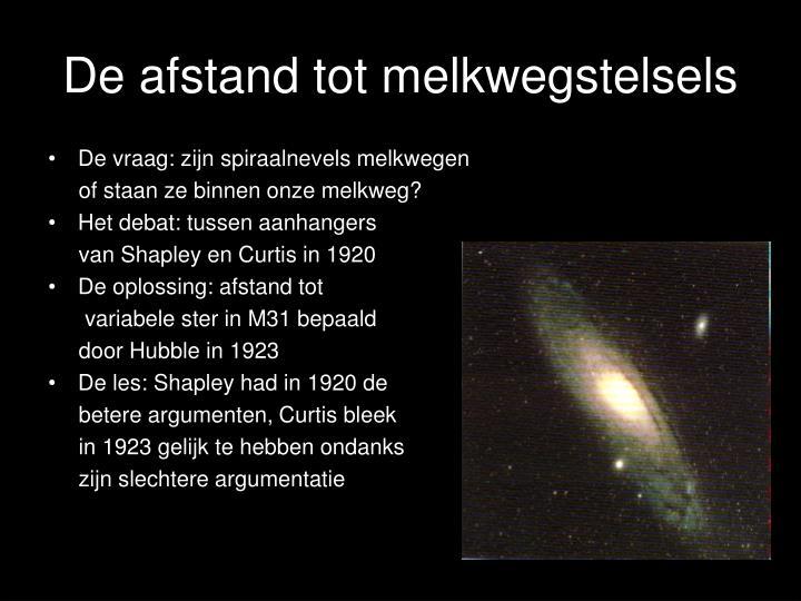 De afstand tot melkwegstelsels