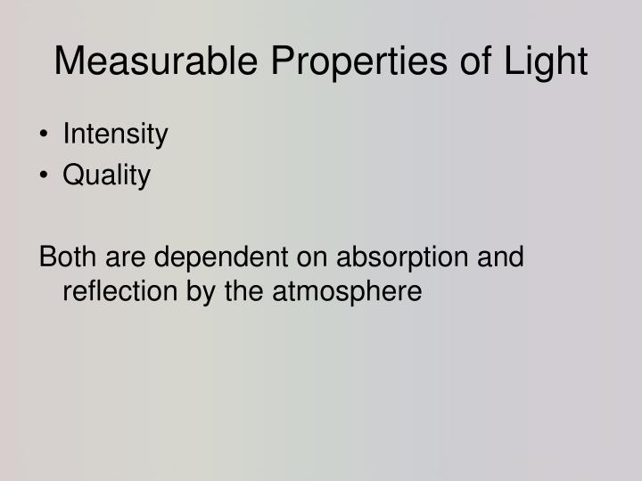 Measurable properties of light