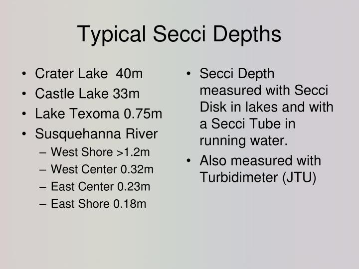 Typical Secci Depths