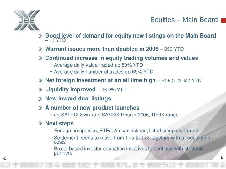 Equities – Main Board