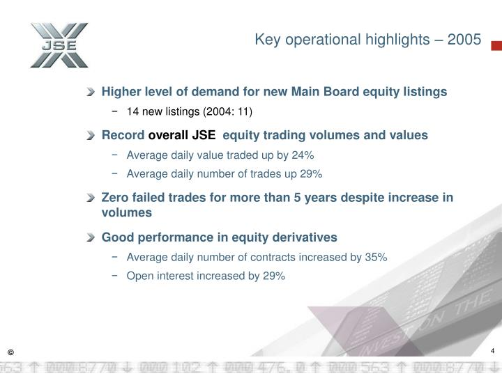 Key operational highlights – 2005