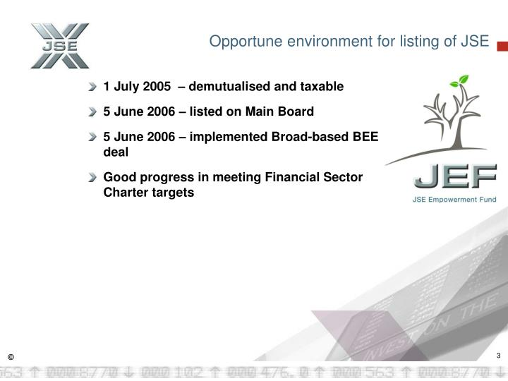 Opportune environment for listing of JSE