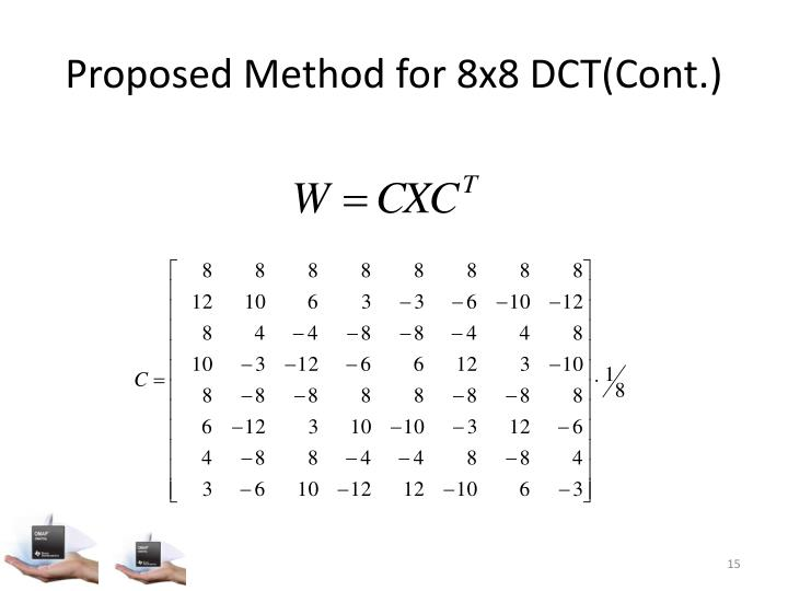 Proposed Method for 8x8 DCT(Cont.)