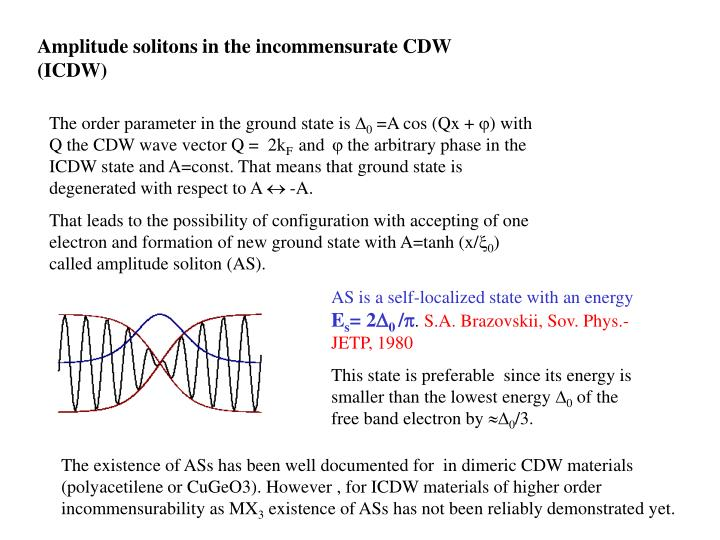 Amplitude solitons in the incommensurate CDW (ICDW)