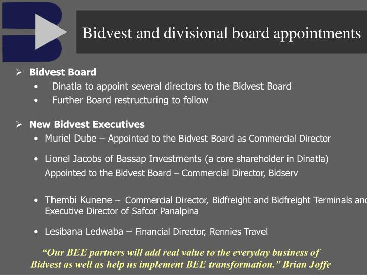 Bidvest and divisional board appointments