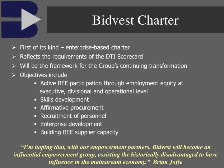 Bidvest Charter