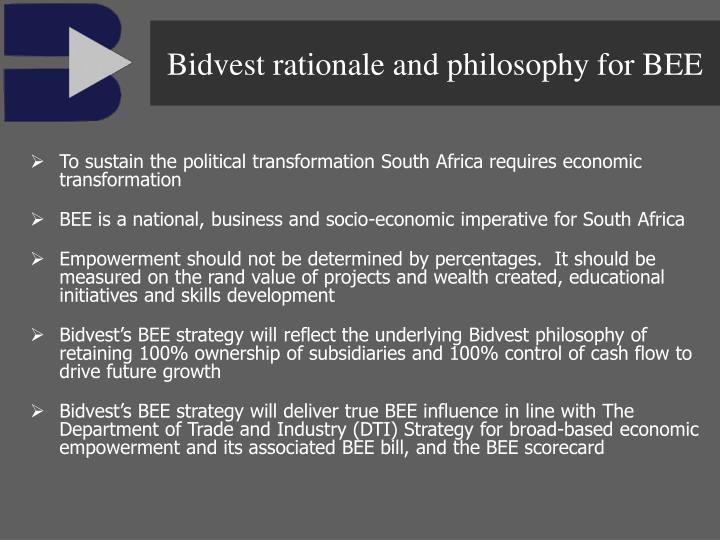 Bidvest rationale and philosophy for BEE