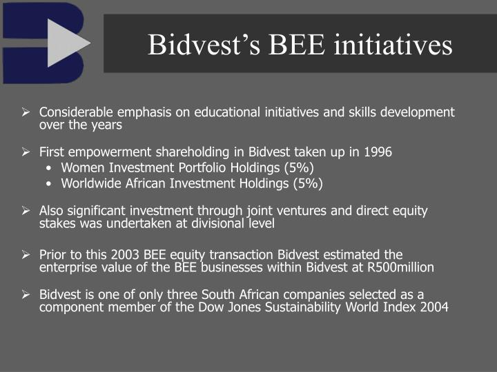 Bidvest's BEE initiatives