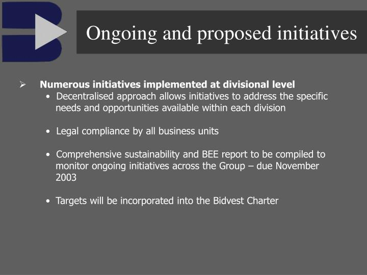 Ongoing and proposed initiatives