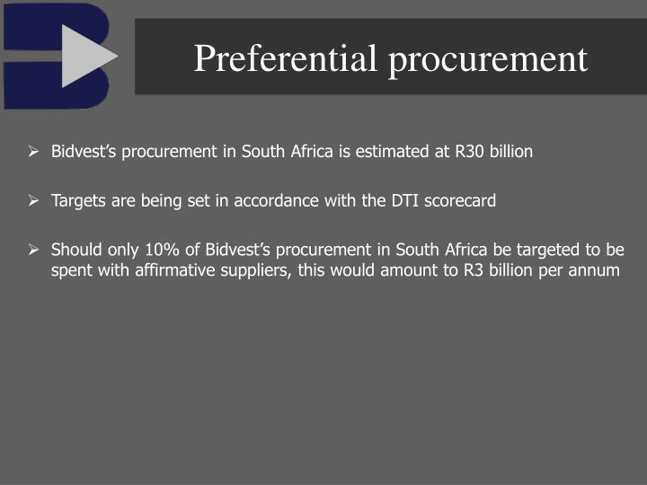 Preferential procurement