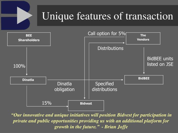 Unique features of transaction