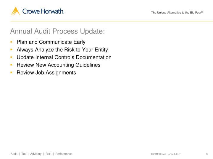 Annual Audit Process Update: