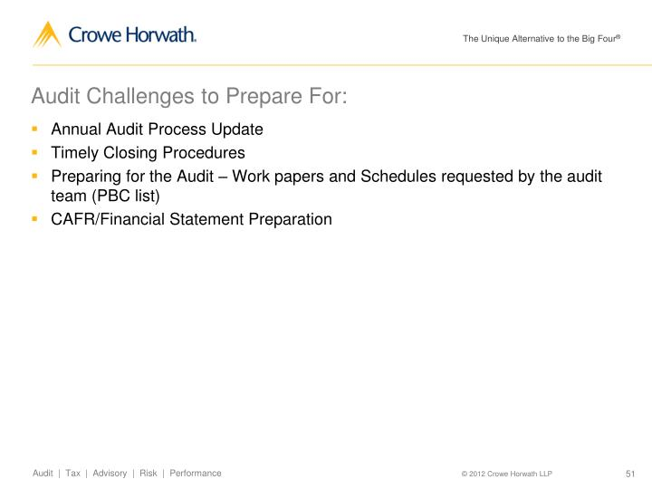 Audit Challenges to Prepare For: