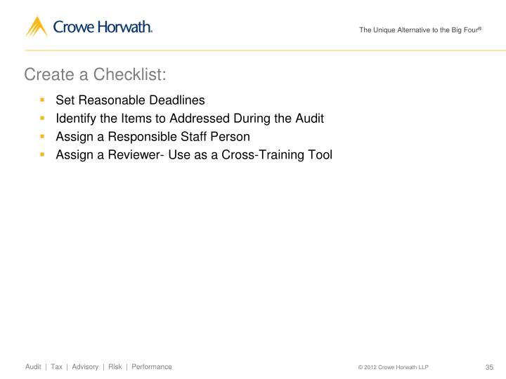 Create a Checklist: