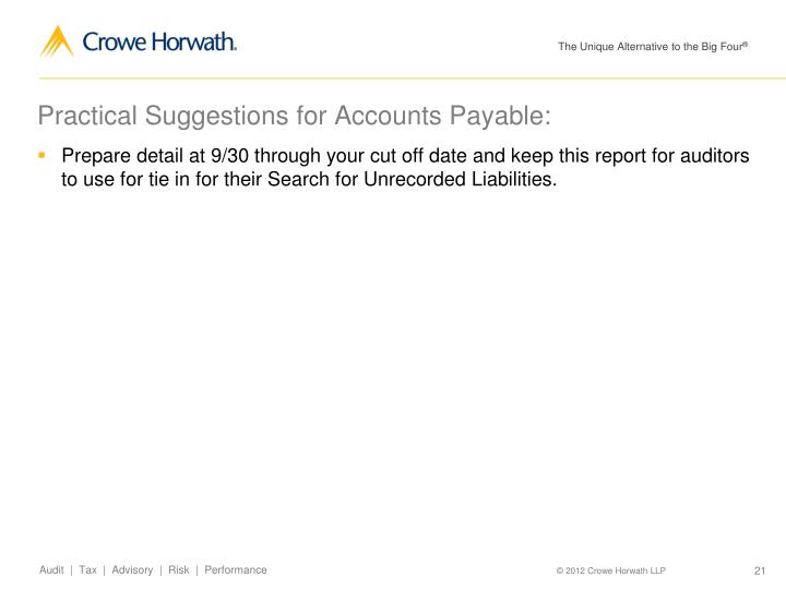 Practical Suggestions for Accounts Payable: