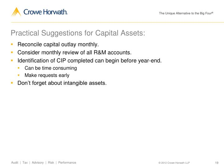 Practical Suggestions for Capital Assets: