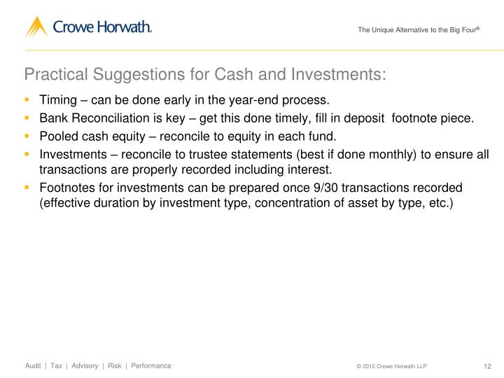 Practical Suggestions for Cash and Investments:
