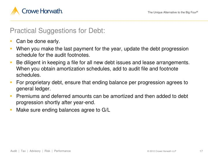 Practical Suggestions for Debt: