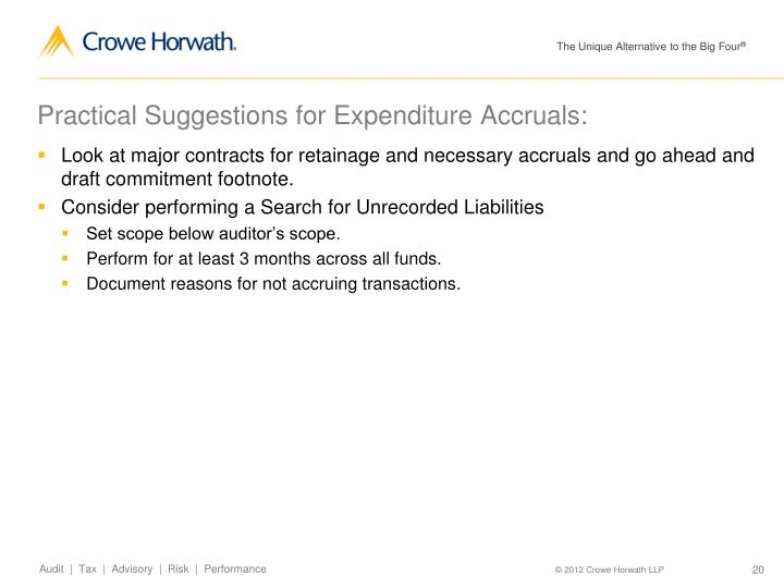 Practical Suggestions for Expenditure Accruals: