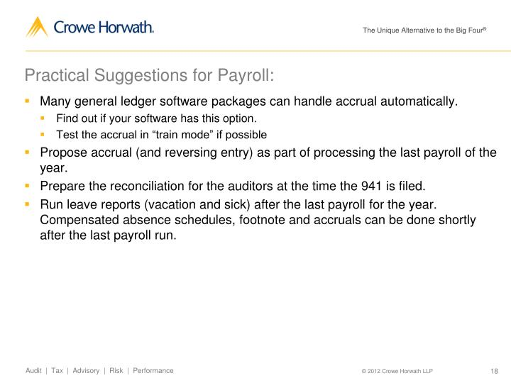 Practical Suggestions for Payroll: