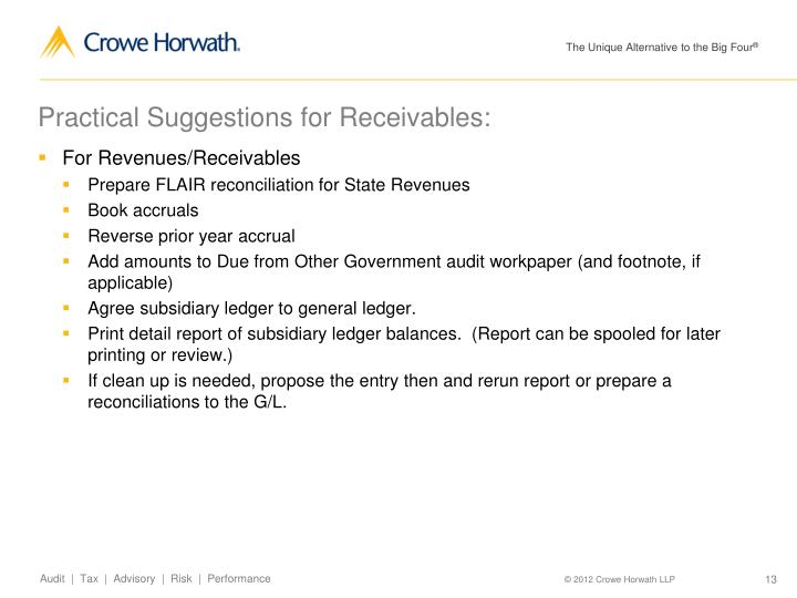 Practical Suggestions for Receivables: