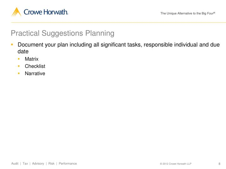 Practical Suggestions Planning