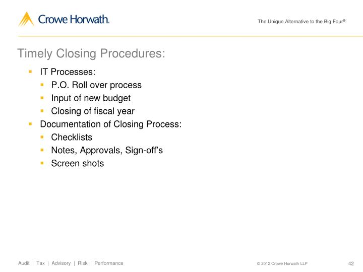 Timely Closing Procedures: