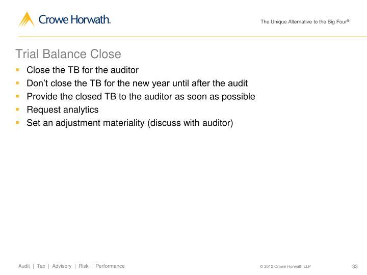 Trial Balance Close