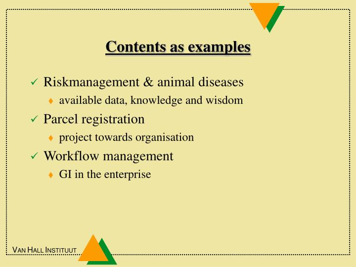 Contents as examples