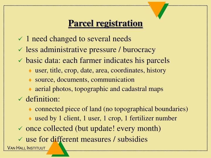 Parcel registration