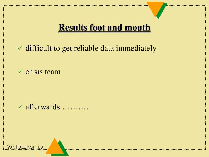 Results foot and mouth
