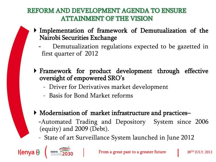 REFORM AND DEVELOPMENT AGENDA TO ENSURE ATTAINMENT OF THE VISION