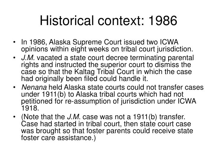 Historical context: 1986