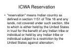 icwa reservation