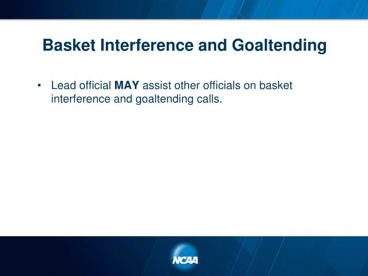 Basket Interference and Goaltending