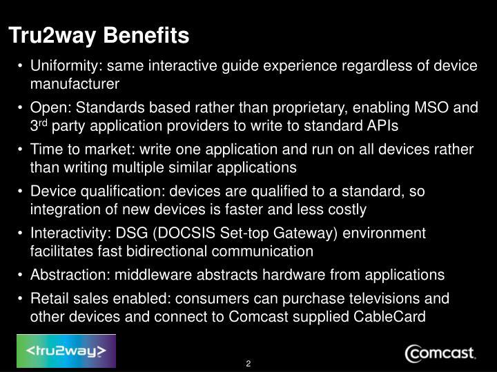 Tru2way Benefits