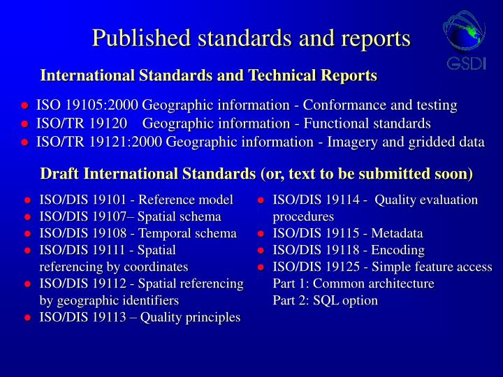 Published standards and reports