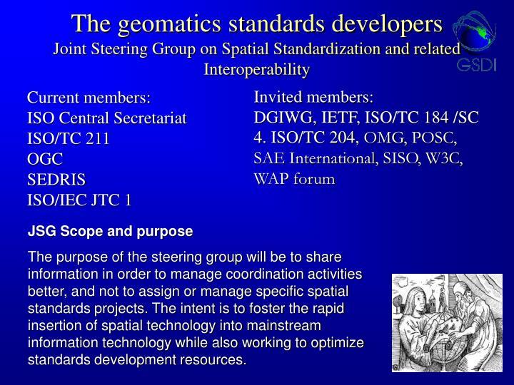 The geomatics standards developers