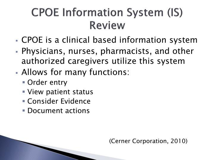 CPOE Information System (IS) Review