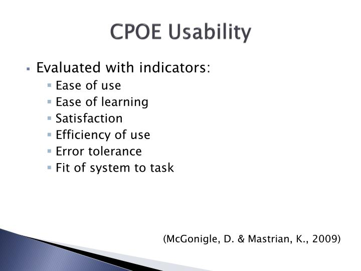 CPOE Usability