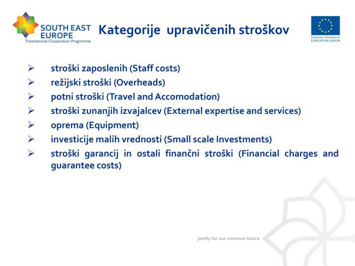 Kategorije  upravičenih stroškov