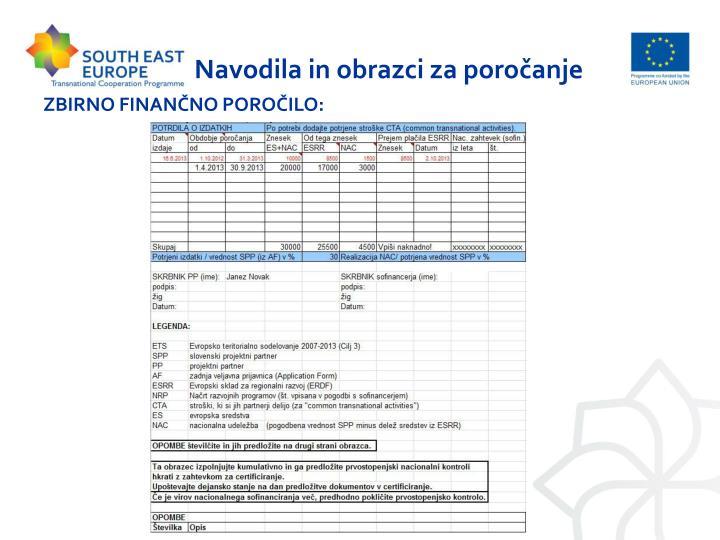 Navodila in obrazci za poročanje