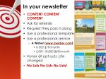 in your newsletter