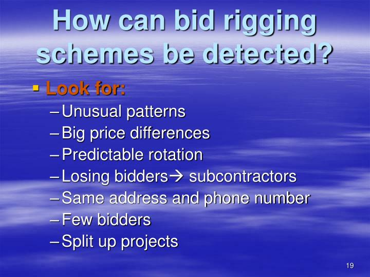 How can bid rigging schemes be detected?