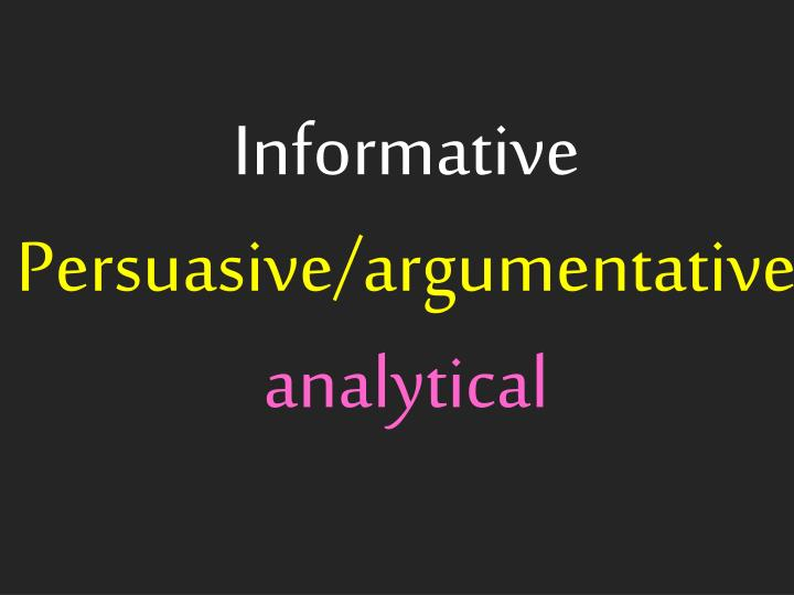 Informative persuasive argumentative analytical